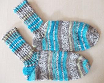 hand-knitted socks, Gr. 38/39 (EU),  turquoise + beige