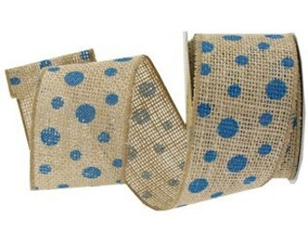 "2.5"" x 10 yds. Natural Jute Wired Edge Ribbon w/ Turquoise Dots"