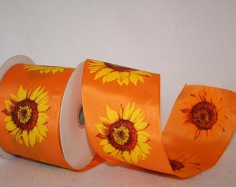 "2.5"" x 20yds SUNFLOWER Wired edge ribbon / orange/ 99892W-CO2-40H"