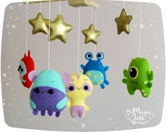 Baby mobile monster Crib mobile Space baby mobile Alien baby monster mobile Baby boy mobile space creatures Baby shower gift