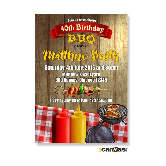 BBQ Birthday Invitation Summer Party Backyard Barbecue