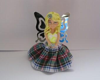 Scottish  fairy in tartan, Christmas decoration, handmade ornament,  Xmas tree decoration,  Scottish fairy, McFaerie, tartan, souvenir