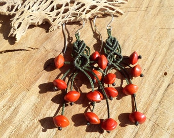 handmade macrame flexible earrings with red rainforest natural seeds and sterling silver hook