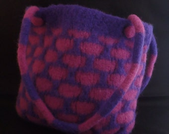 Colourful bag, hand knitted and felted