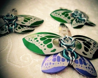 Purple/Green Butterfly Scale Chainmail Hairclips