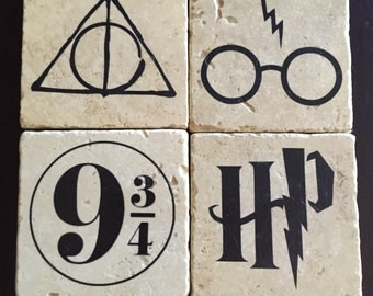 Harry Potter Coasters - Tumbled Tile Coasters - Deathly Hallows - Harry Potter Glasses - Platform 9 3/4 - HP Symbol - Set of 4