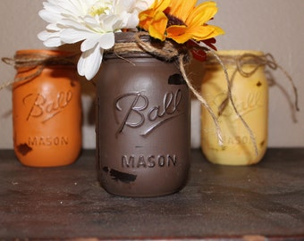 Set of 3 Fall mason jars Centerpiece Fall home decor Fall decorations Painted Mason jar table centerpieces Fall decor
