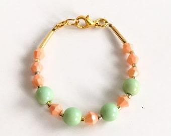 Stacking bracelet - Baby Bracelet - toddler bracelet - baby girl jewelry- coral and mint - summer bracelet