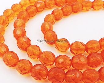 8mm Orange Czech Fire Polished Rounds (20) Faceted Orange Czech Beads