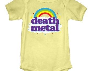Death Metal Onesie (GT2999-800) babies, onesies, cool baby onesies, funny baby onesies, baby tees, rainbow, baby, heavy metal, music fan
