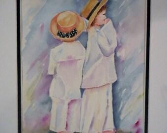 Watercolor Children, original watercolor ,