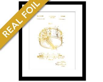 Snare Drum Patent Illustration - Gold Foil Print - Music Poster - Drummer Gift - Drum Poster - Drum Art Print - Music Art Print - Blueprint