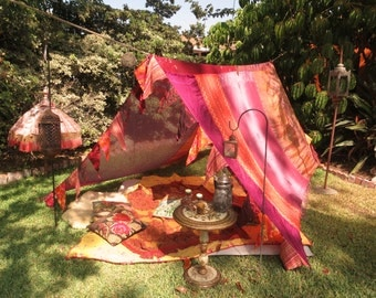 XL Upcycled Boho Gypsy TENT Patchwork Sari Tapestry Bohemian Festival Burning Man SCA medieval Glamping Tent Photo backrop Renaissance Faire