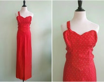 Vintage 1950s Red Burlesque Costume   Size Small