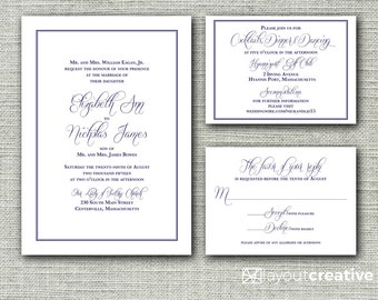 Traditional Print-Ready Wedding Invitation Set! 3-Piece Printable Set Include Invitation, Response/RSVP and Reception Details Cards!