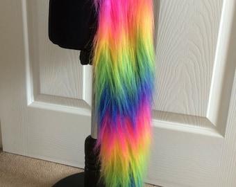 Fluffy rainbow cat or unicorn tail