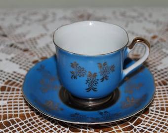 Vintage Hand Painted Made in Japan Demitasse Tea Cup Navy and Cobalt Blue Teacup