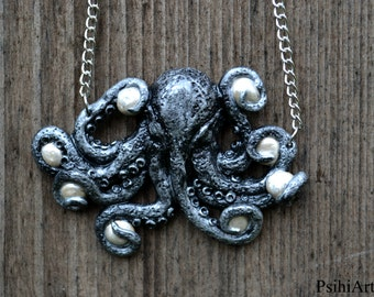 Octopus necklace Octopus jewelry Silver necklace Polymer clay octopus Tentacle necklace Polymer clay necklace One of a kind Handmade jewelry