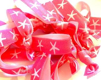 Hot Pink/Neon Pink and White Starfish Hair Tie