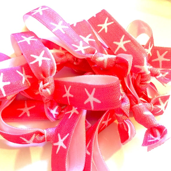 Hot Pink/Neon Pink and White Starfish Hair Tie