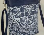 mandala bag..hand painted mandala on upcycled denim bag..denim and faux leather cross body bag..Jean tote bag..denim hand bag..