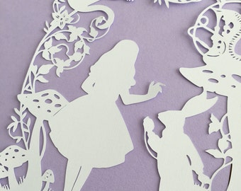 Framed Paper Cut - Alice in Wonderland - Cheshire Cat, White Rabbit, floral theme