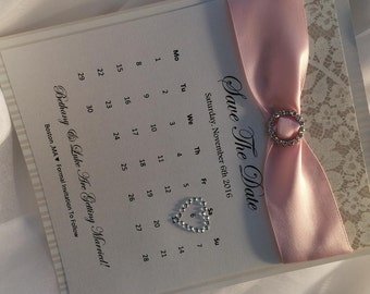 Vintage/Shabby Chic Save The Date Cards-With Satin Ribbon Bow & Bling