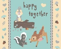 SALE Disney Bambi Fabric Panel Happy Together Quilt Wall Hanging Cotton Panel