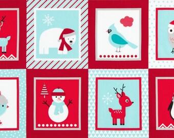 Winter Jingle 4 Christmas Blocks Fabric Panel Ann Kelle Robert Kaufman