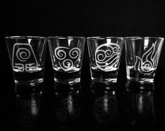 Avatar the Last Airbender Shot Glass- Set of 4- Air- Fire- Earth- Water