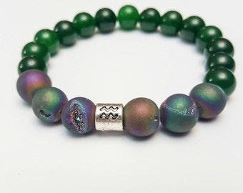 Aquarius bracelet Zodiac jewellery Mens bracelet Green Jade bracelet Druzy bracelet Yoga jewelry Healing beaded bracelet Gifts for him