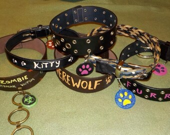 Costume Collars, upcycled, with 3D Printed Tags