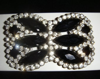 Antique French Jet and Rhinestone/Paste Applique or Ornament