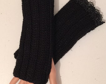 Hand Crocheted Wrist warmers / fingerless gloves Black with lace edging