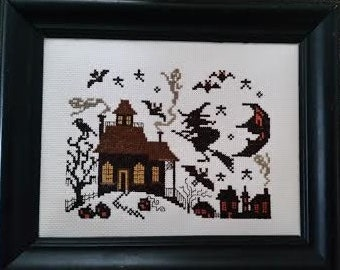 Prairie Schooler Halloween Pattern Complete and Framed