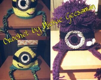 Crochet minion hats.