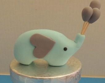 Fondant Elehant Cake Topper - Baby Shower, 1st birthday, Baptism