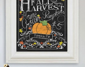 Fall Decor - Pumpkin Season - Fall Art - Pumpkin Pie -Fall Harvest - Fall Decor - Autumn Print - Chalkboard Art 8x10 Digital Copy