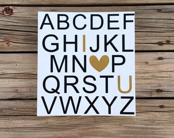 Alphabet ABC (i love you) wood sign