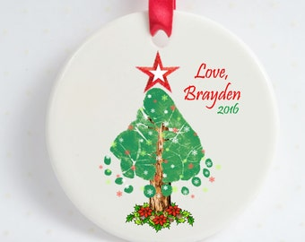 Holiday Tree Footprints Ornament w/Decorative Ribbon, Baby's Actual Footprints, Baby & Toddler Footprints Ornament, Xmas Footprint Ornament