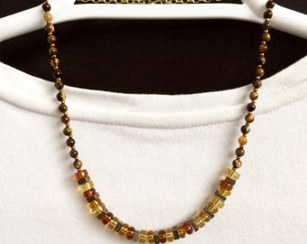 Brown Bead Necklace Brown Necklace Short Bead Necklace Beaded Choker Necklace Brown Amber Tiger Eye Necklace Glass Bead Necklace Gift Her
