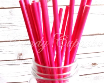 SOLID HOT PINK 25 Paper Straws, Birthday, Party, Wedding, Paper Straws