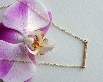 Hammered Gold Bar Necklace -Delicate Gold Bar/Everyday Necklaces • 14k Gold Filled-Delicate Necklace -Dainty Minimal Necklace /Gold LP209_v