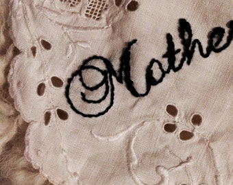 Hand Embroidered Vintage Doily . Gift Idea, Jacket Appliqué