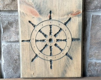 Ship Wheel Carved in Wood, Wood carved wall hanging, nautical