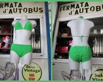 Due pezzi verde anni 60. Uncinetto.Nuovo.Tg.44-M/60s crocheted grass green bikini/10% cotton/Lined panties /Brand new/Size 10-M