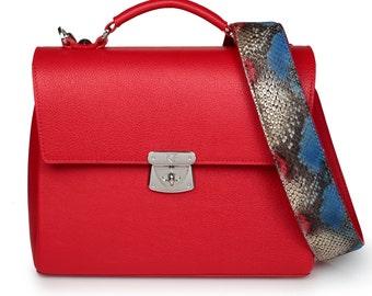 Leather Top Handle Bag, Red Leather Handbag Top Handle, Women's Leather Bag KF-740