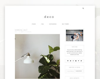 Responsive Wordpress Theme - Deco - INSTANT DOWNLOAD - Wordpress Template - Premade Wordpress Theme - Wordpress Blog Theme