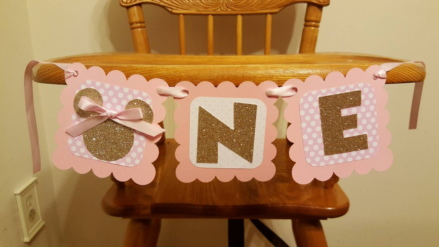 Pink And Gold Minnie Mouse Highchair Banner Pink And Gold Minnie Mouse  Birthday Decor