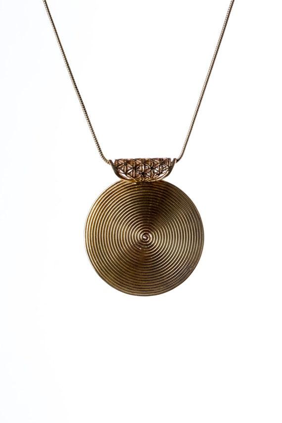 Big Spiral Pendant Brass with Flower Of Life - Necklace Spiritual jewellery Yogi Jewellery Geometry Jewellery Handmade Free UK delivery BP1